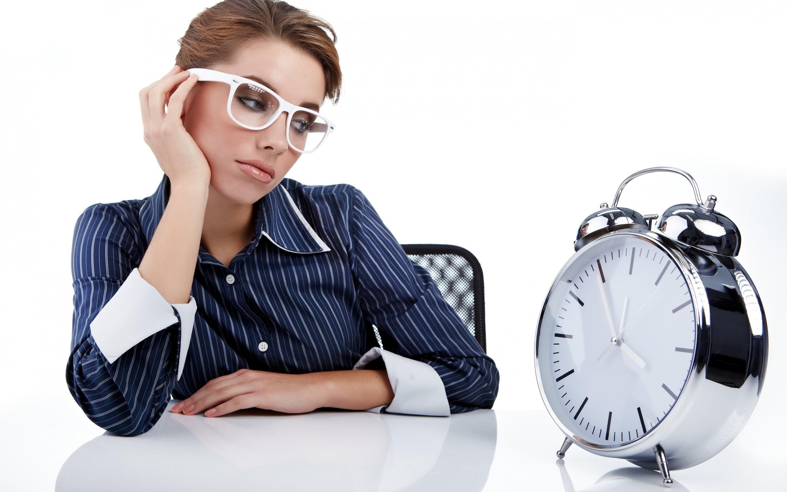 Girl Shirt Glasses Look Clock