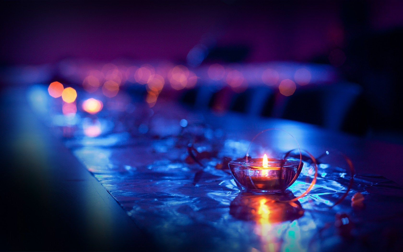 Close-Up Candles Lights Bokeh Photo