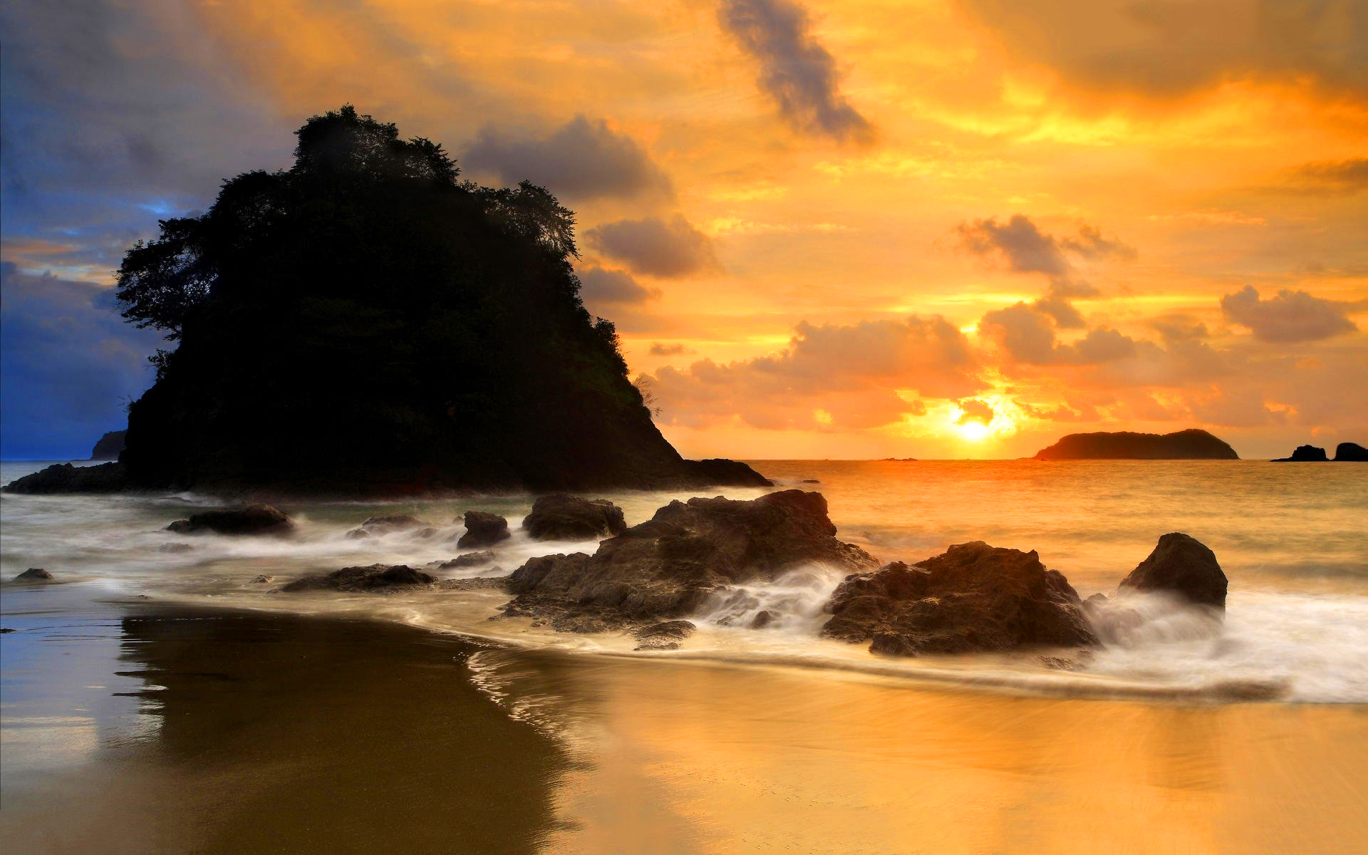 Coast beach evening sun