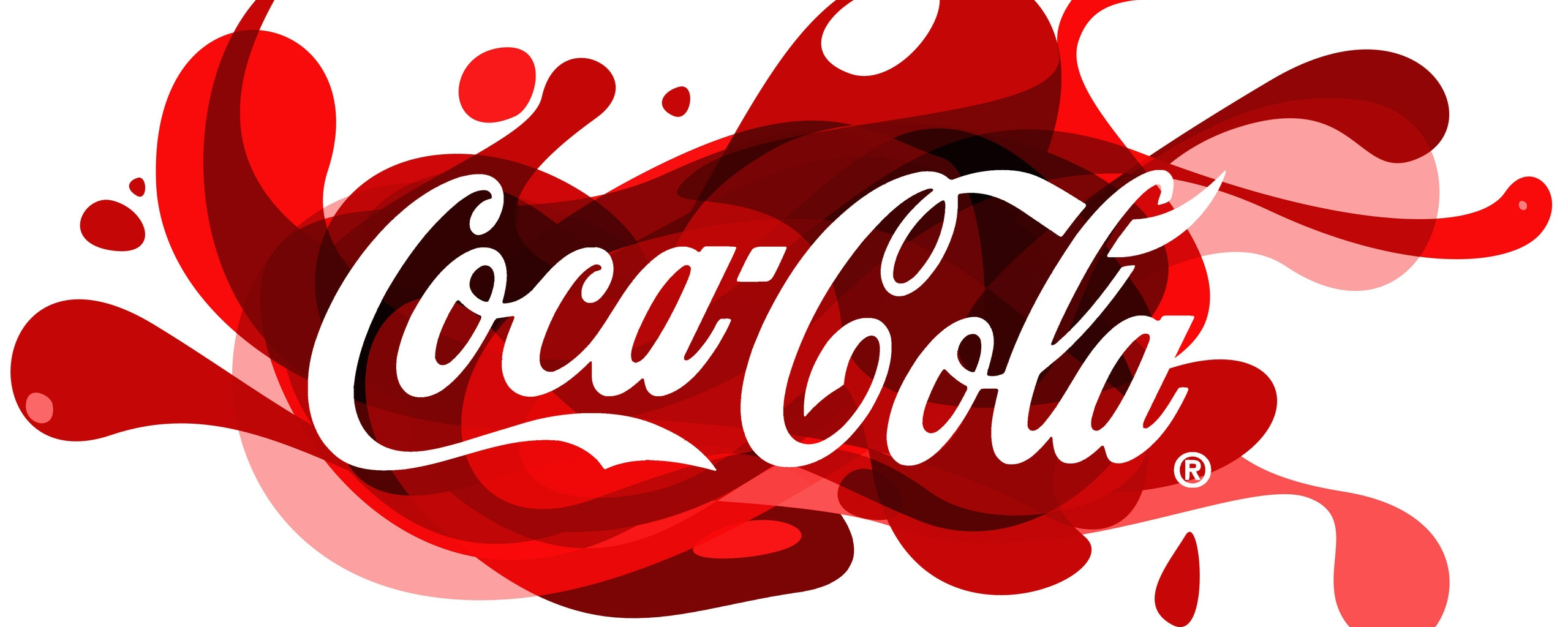 2560x1024 Wallpaper coca-cola, brand, logo, patches, drink, firm