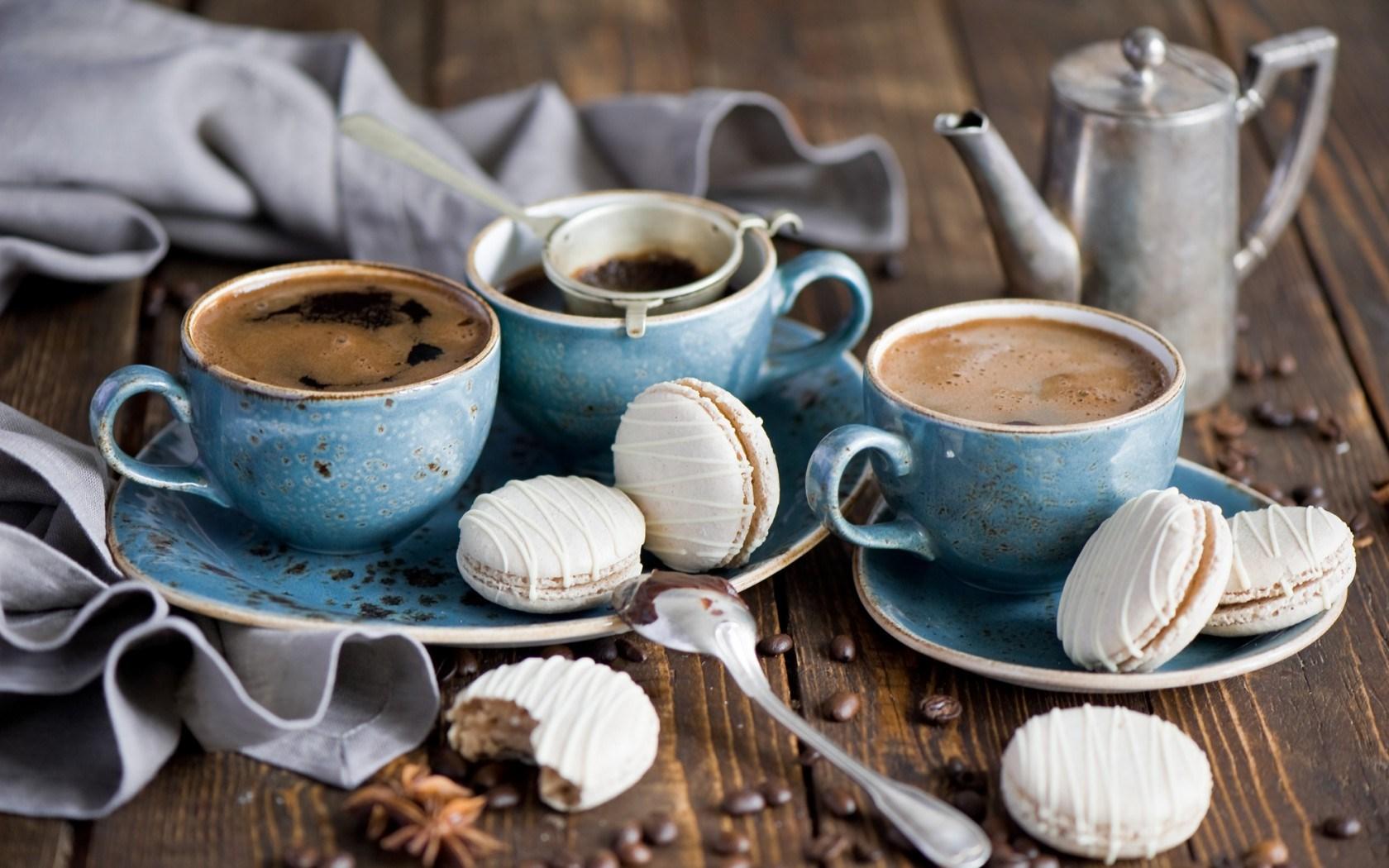 Coffee Drink Cup Cookies Macaron Macaroon