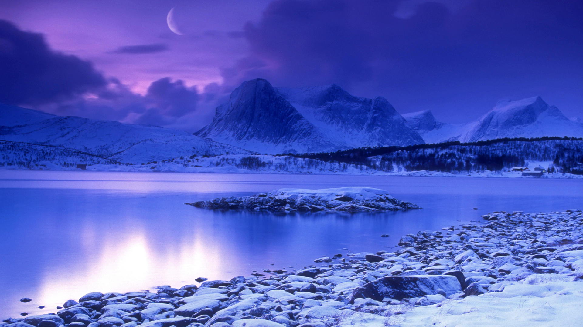 Cold Mountain Lake at Dusk Skarstad Norway Wallpaper