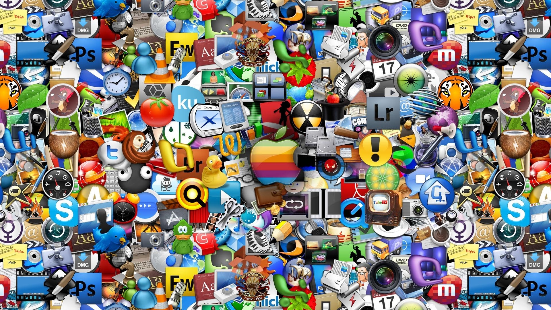 Apple Mac Icon Collage 1920x1080 wallpaper