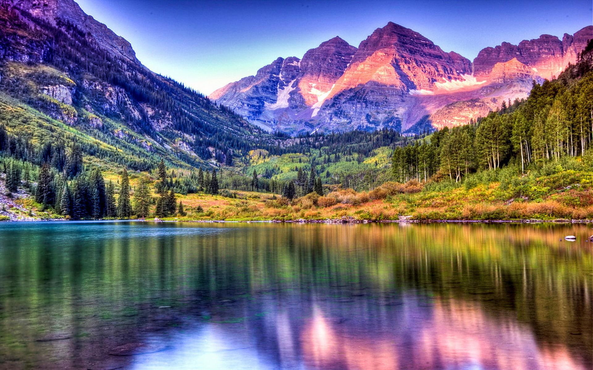 Maroon Bells Lake at Sunrise Colorado HQ Wallpaper