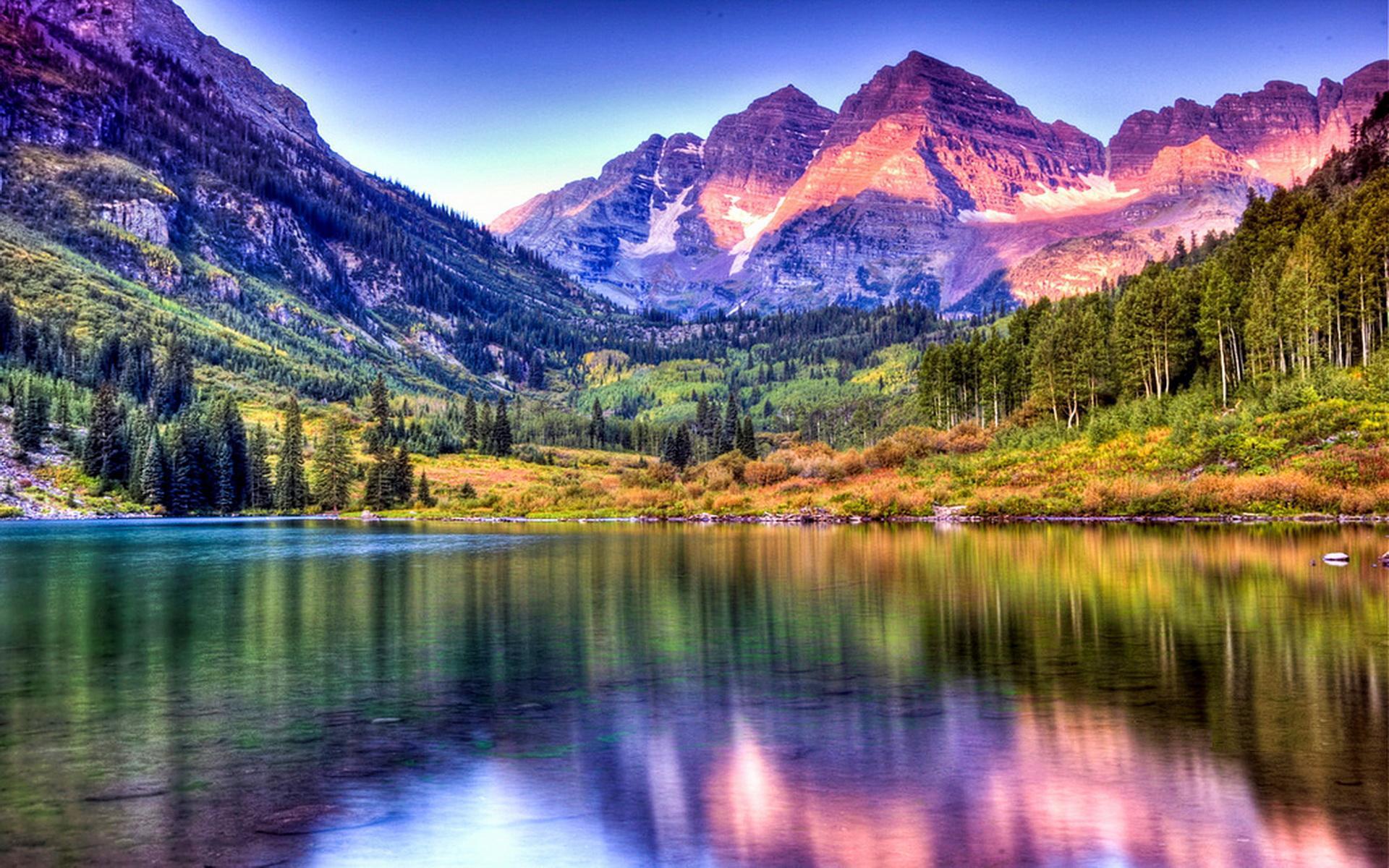 Maroon Bells Lake at Sunrise Colorado HQ Wallpaper