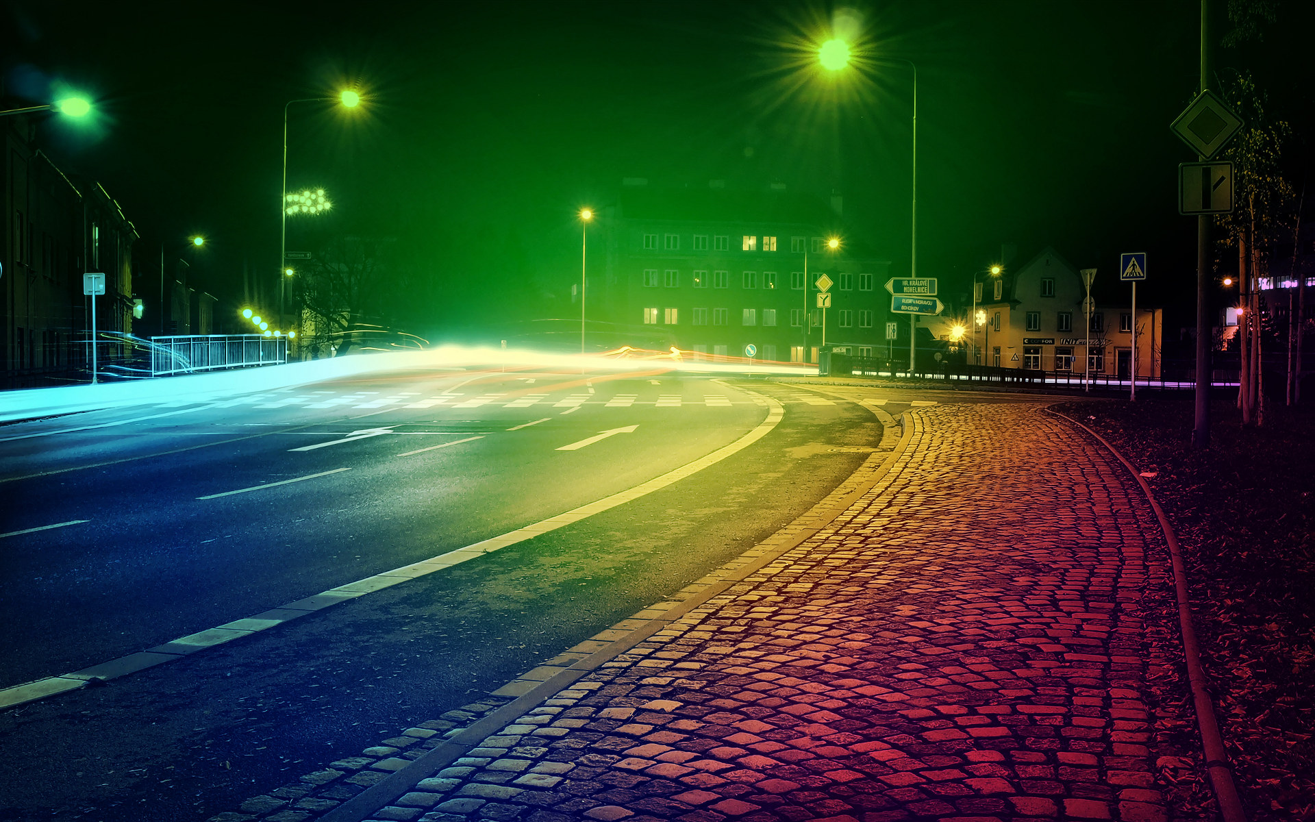 Colored City Lights Wallpaper