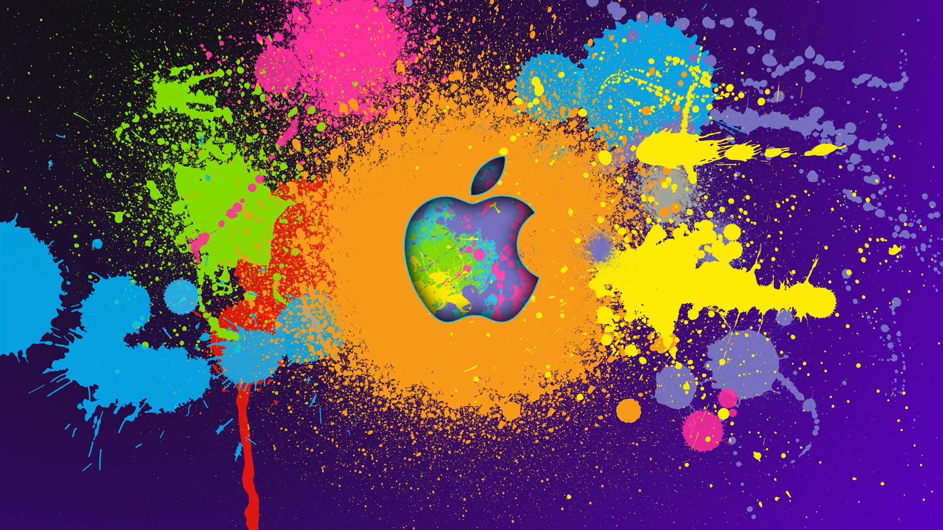 Colorful Apple Logo Brand Selection Wallpaper