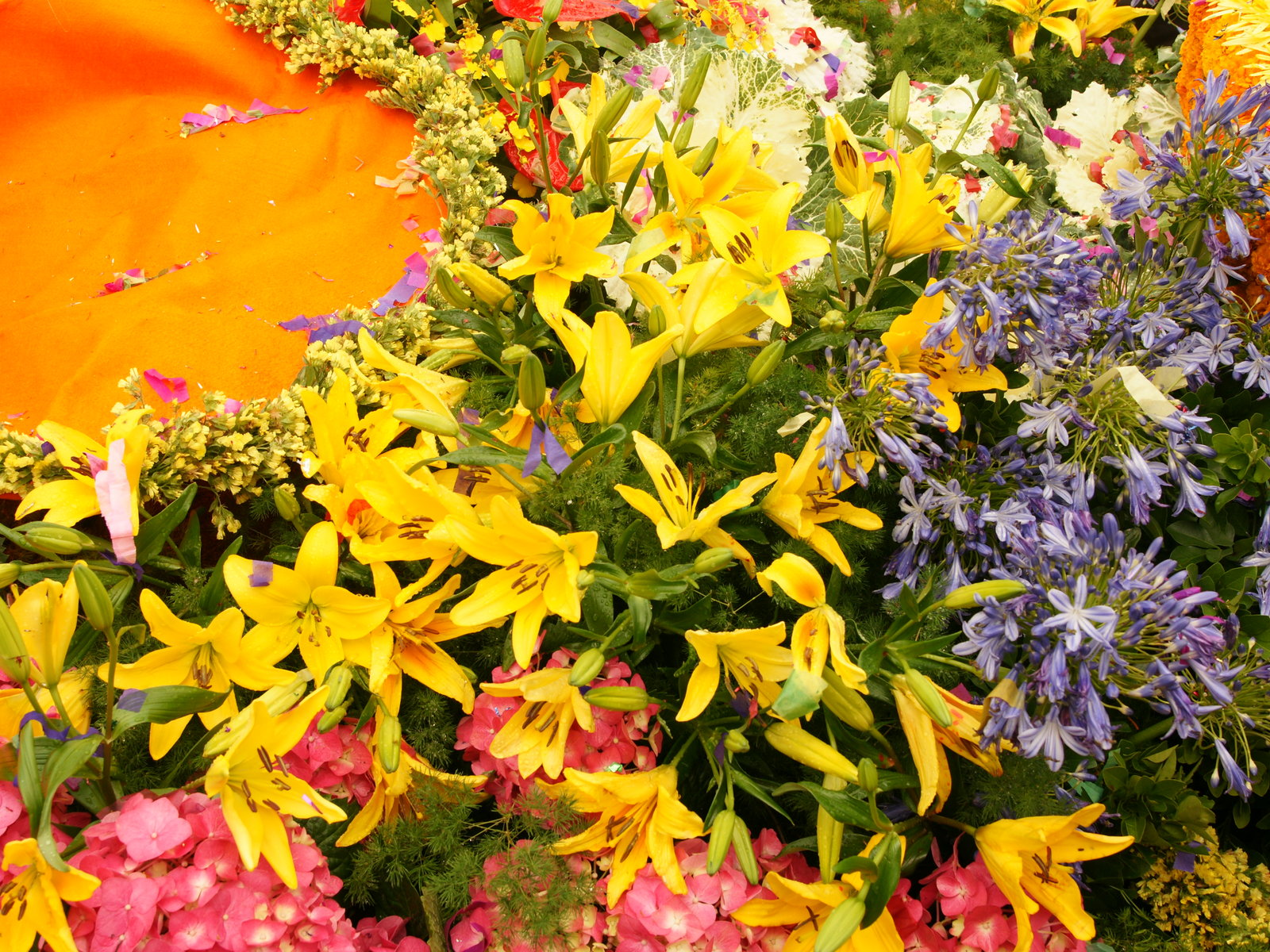 Colorful tropical flowers with yellow Stargazer and pink Hortensia
