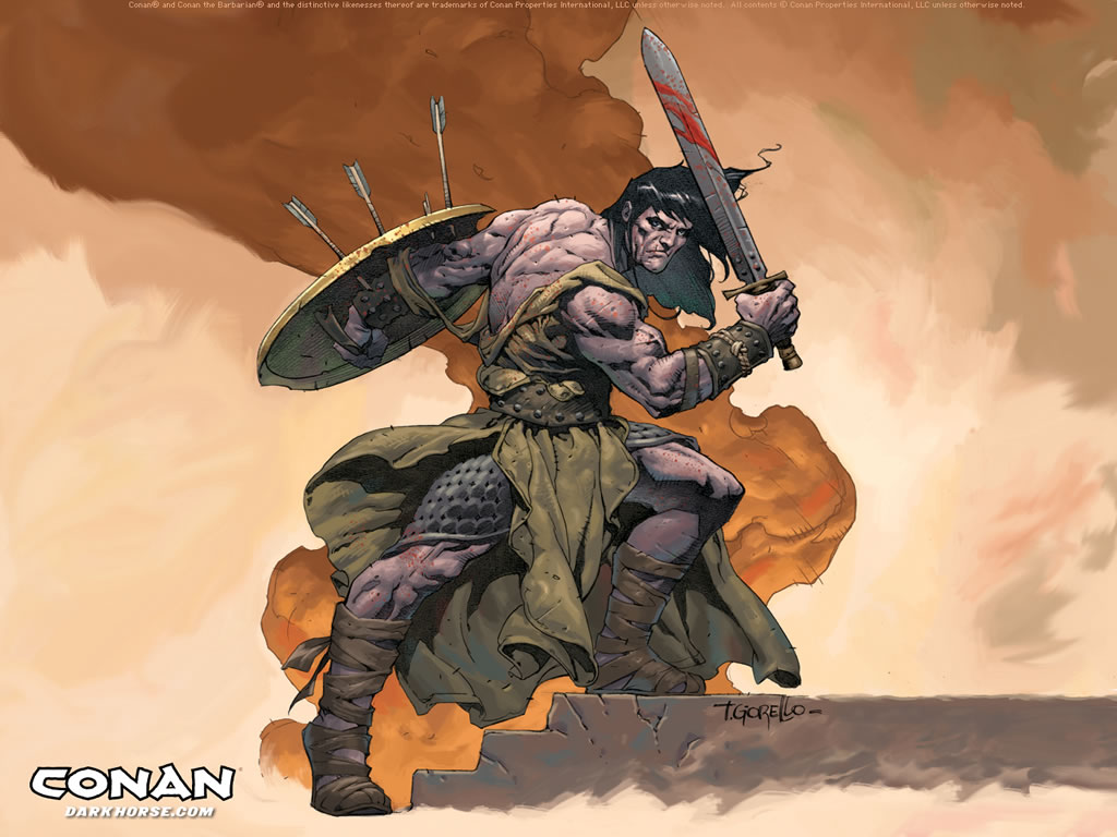 Conan and Red Sonya armed with Shields, Swords, and Daggers take on Batman himself with his Standard Gear. Battle in a castle.