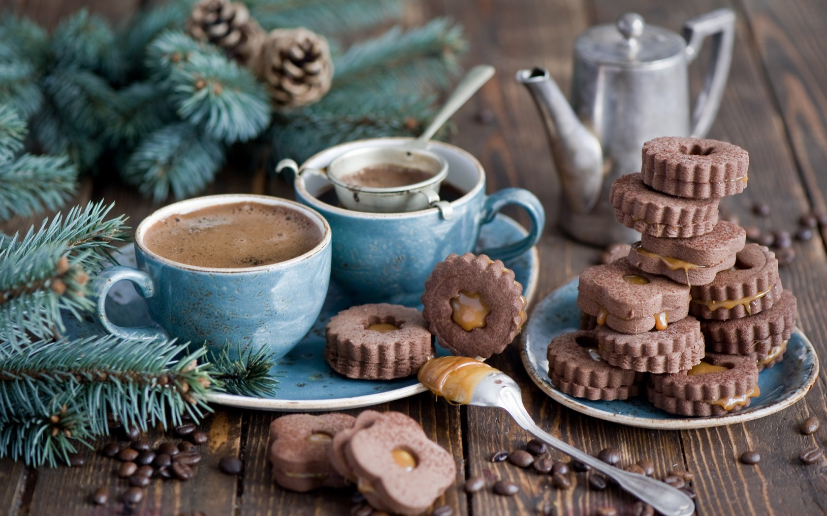 Cookies Chocolate Dessert Coffee Cups Branch Spruce Pine Cones Winter