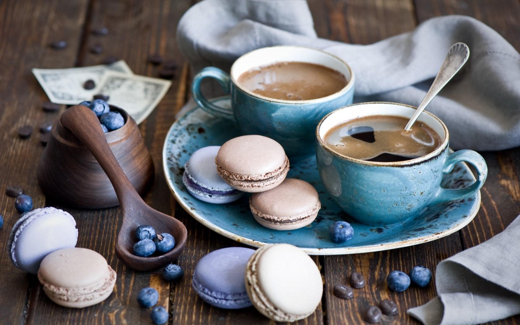 Cookies Macaroon Coffee Dessert Blueberries
