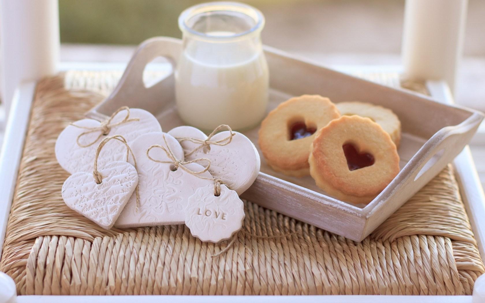 Cookies Milk Sweet Hearts Love Food