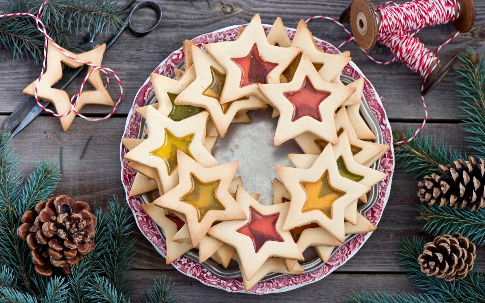 Cookies Stars Baking Dessert Food Pine Cones Winter Christmas