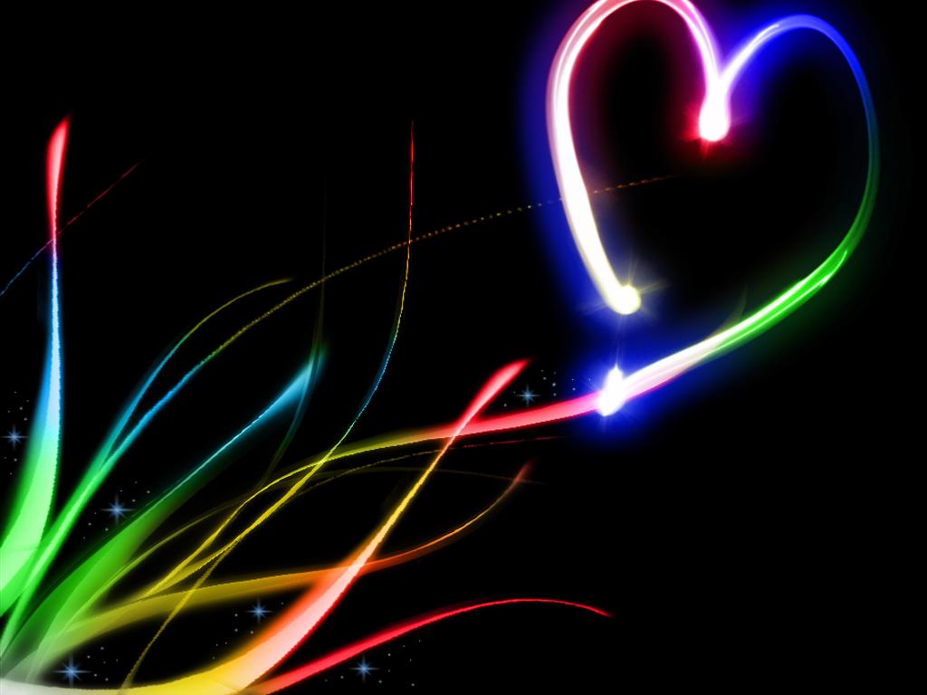 cool neon heart wallpaper 1