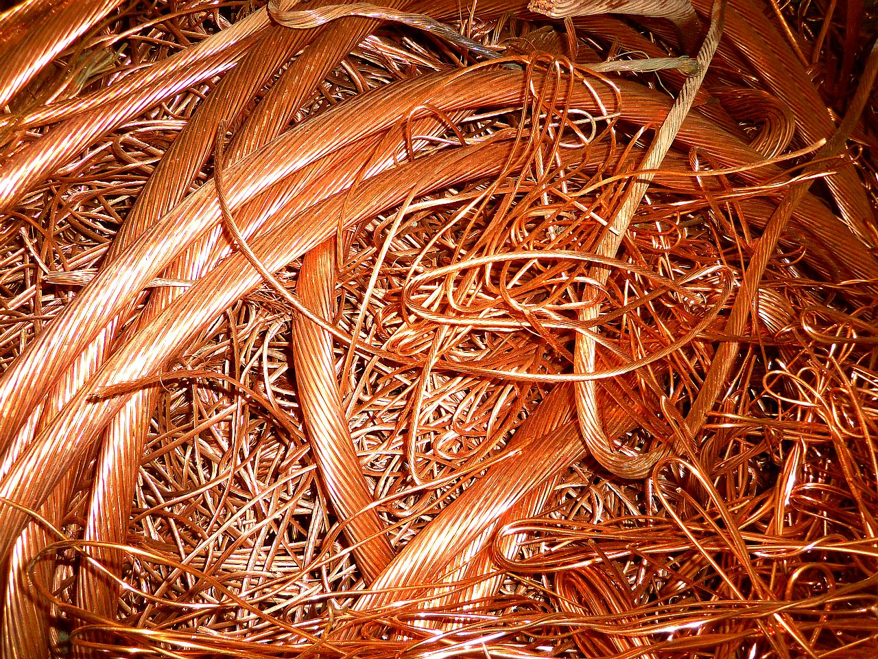Wire – We buy insulated and non insulated wire. This is a picture of bare bright copper wire.
