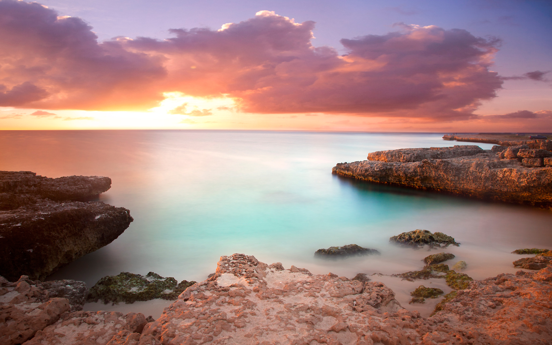 Coral rock sunset