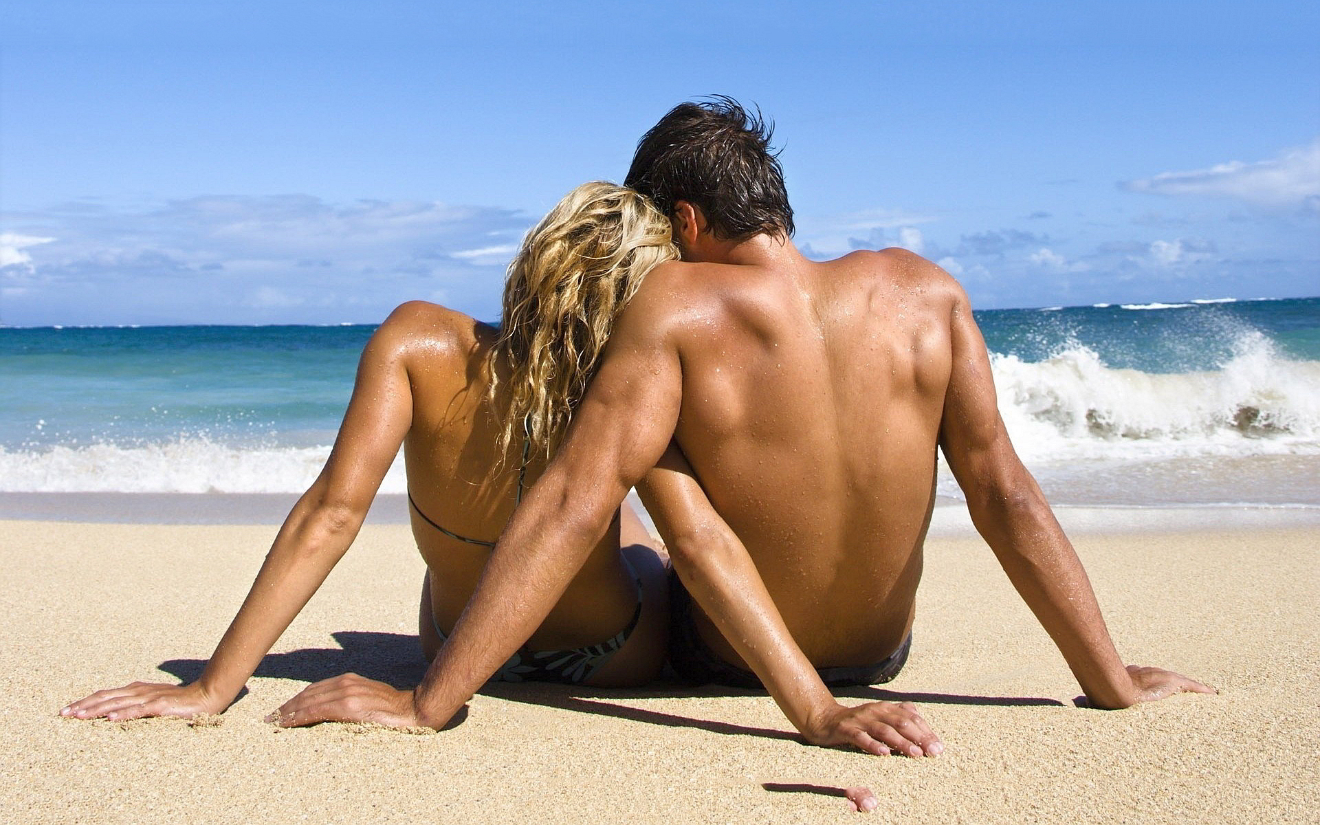 Loving couple beach