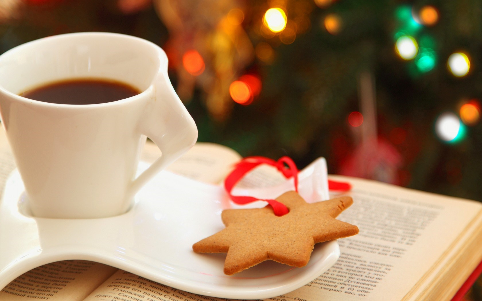Cup Coffee Cookies Star Book Lights Bokeh Christmas