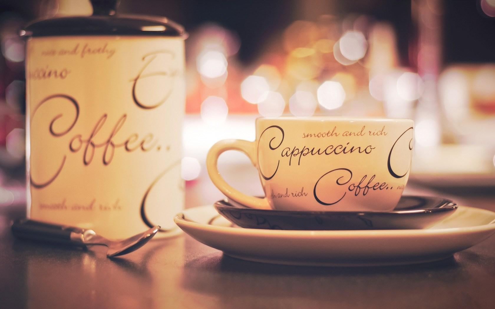 Cup Inscriptions Cappuccino Coffee Bokeh