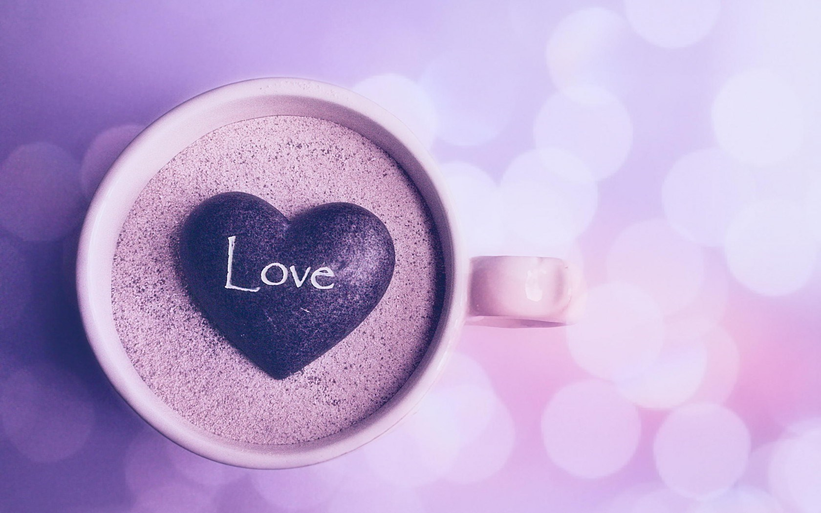 Cup Mug Sand Stone Heart Inscription Love Mood