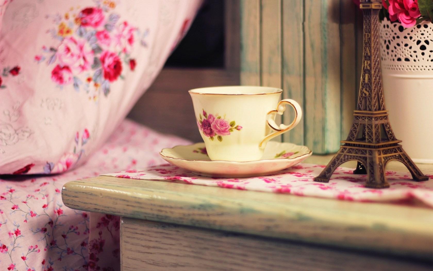 Cup Tea France Eiffel Tower Flowers