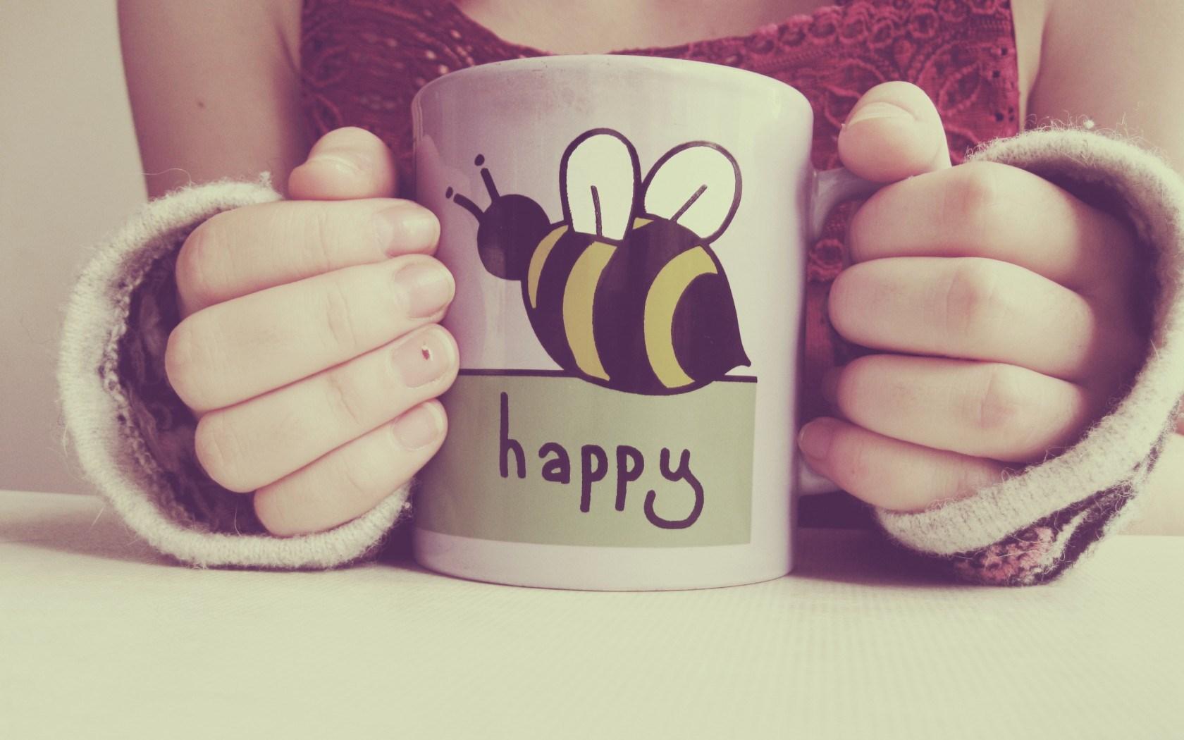 Cup Text Inscription Happy