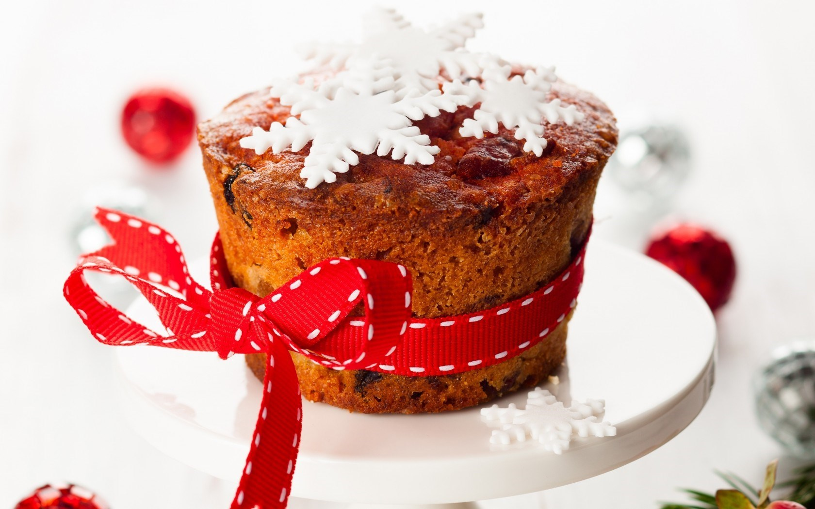 Cupcake Baking Dessert Snowflake Ribbon Holiday Christmas