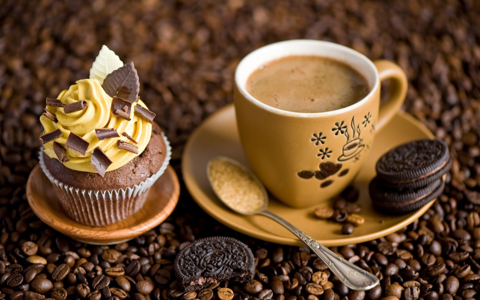Cupcake Cream Chocolate Cookies Dessert Sweets Coffee Cup