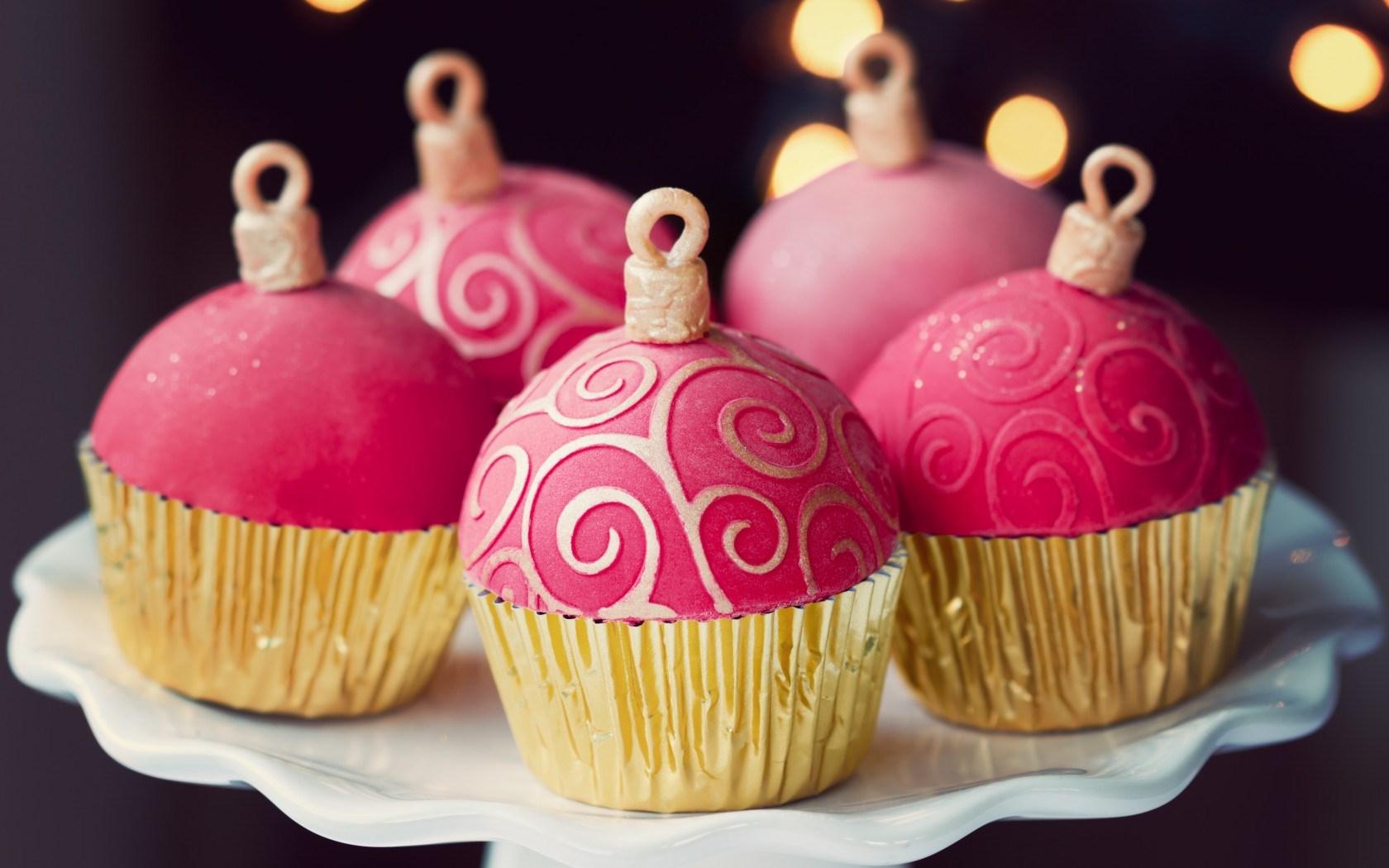 Dessert Cupcakes Christmas Balls Food Holiday Sweets Bokeh