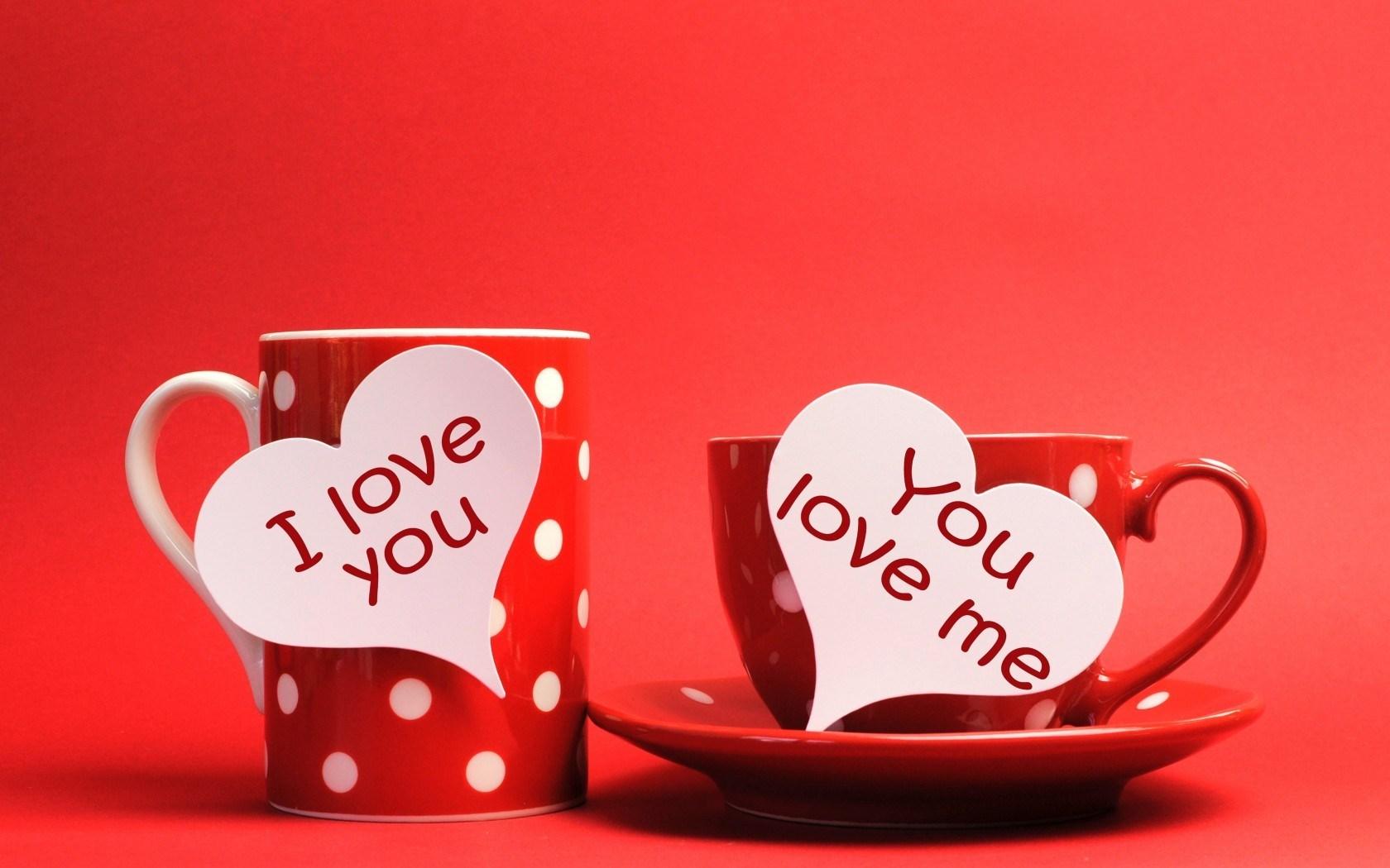 Cups Hearts Inscriptions I Love You You Love Me