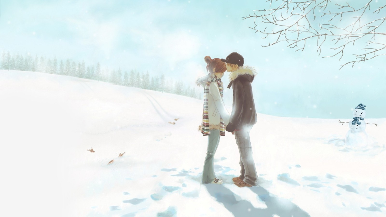 Download Cute Anime Couple in Winter Wallpaper :