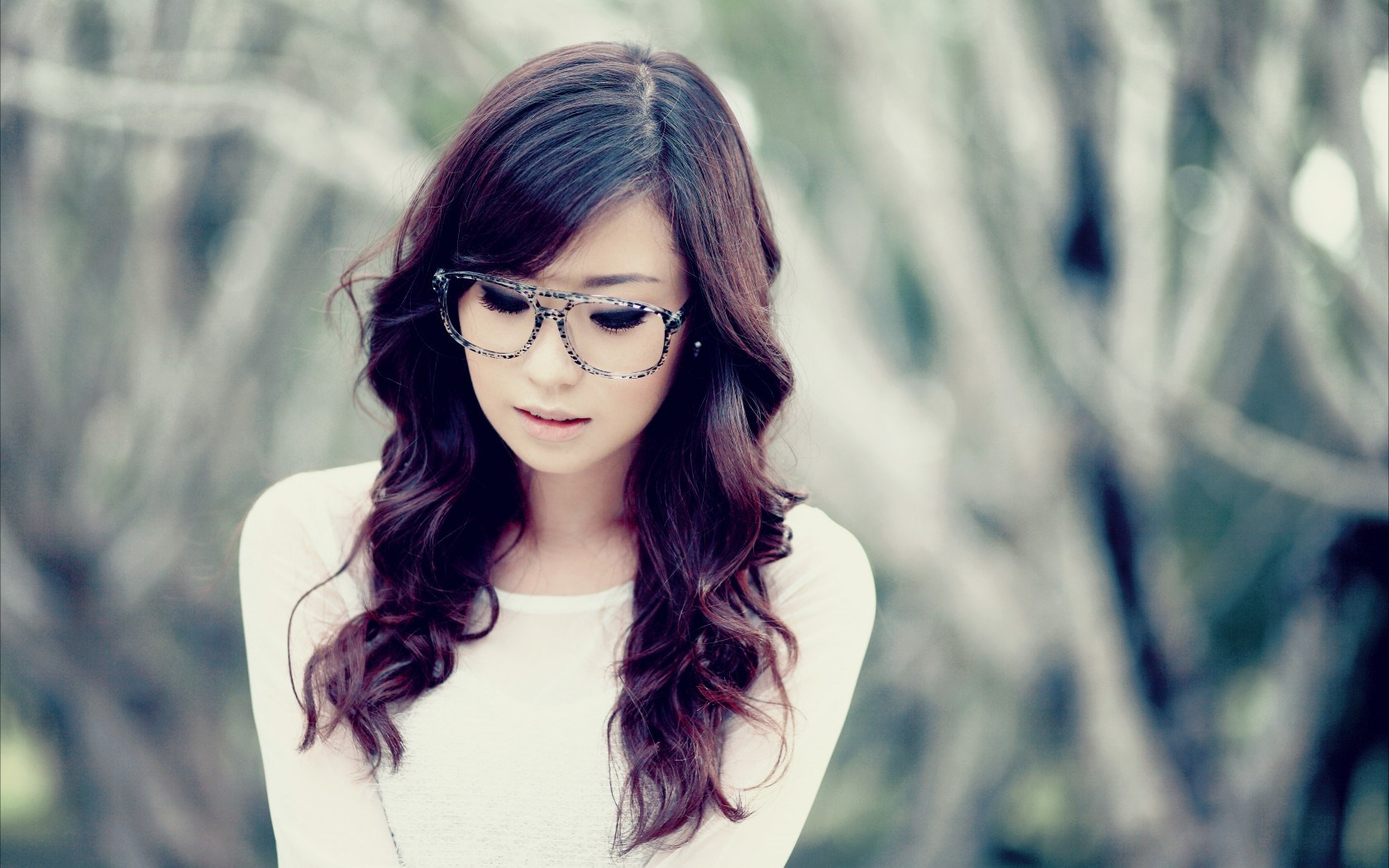 Cute Girl Asian Model Glasses