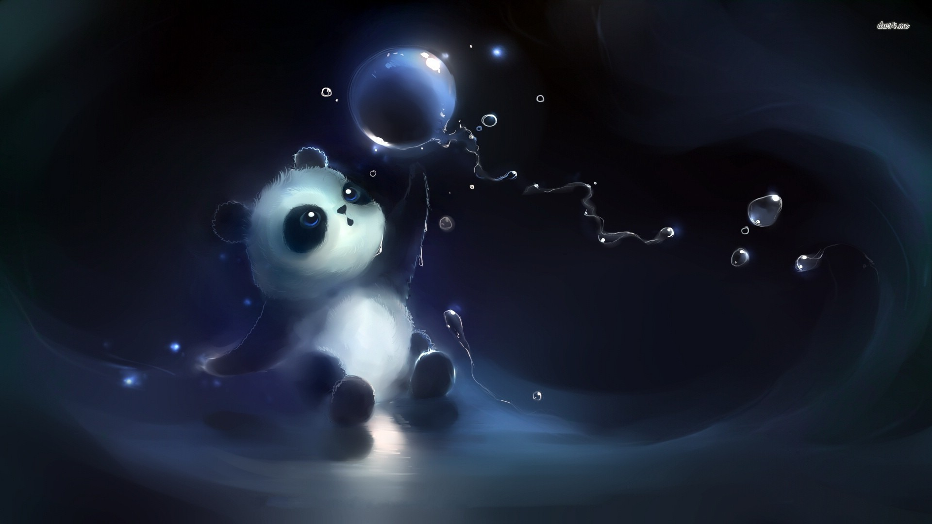 Cute Panda Playing With Bubbles Artistic Wallpaper #129781 - Resolution 1920x1080 px