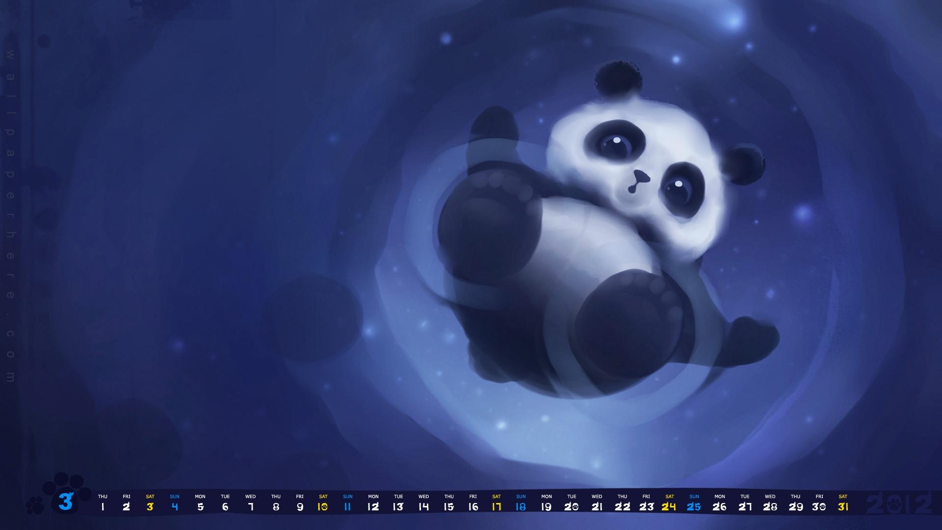 Cute Panda March 2012 Calendar Wallpaper