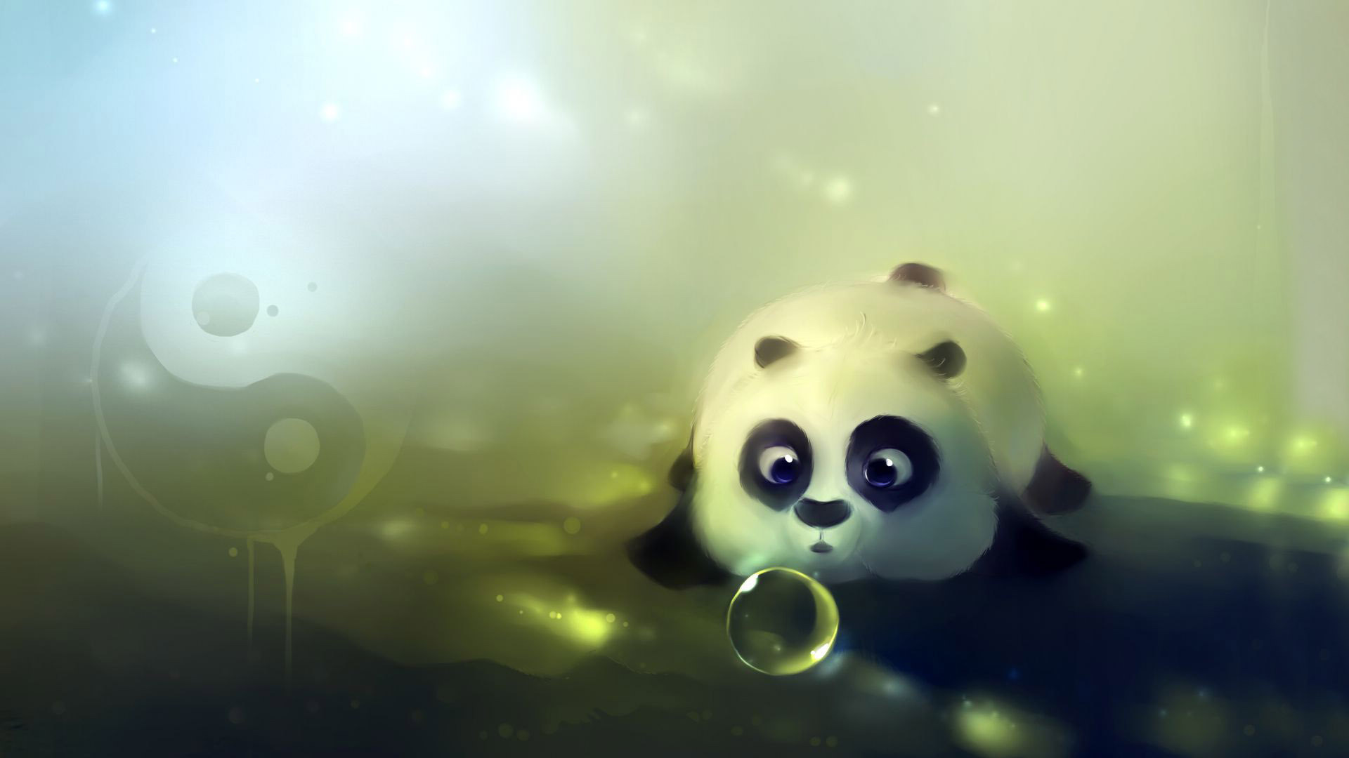 Cute panda playing with bubbles wallpaper