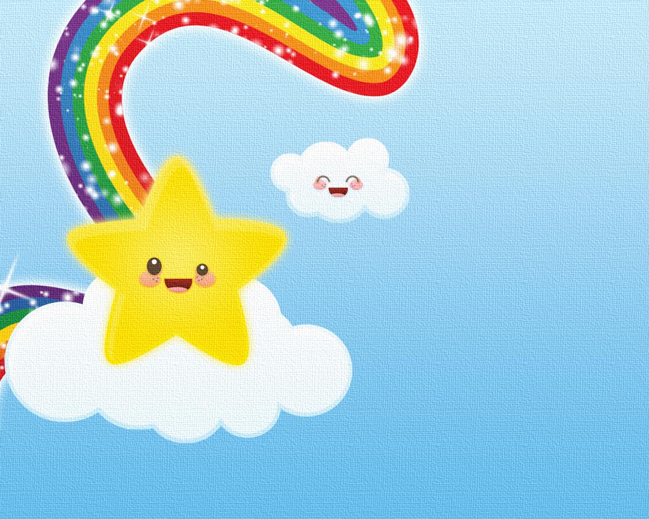 Rainbow Star Kawaii Cute Wallpaper