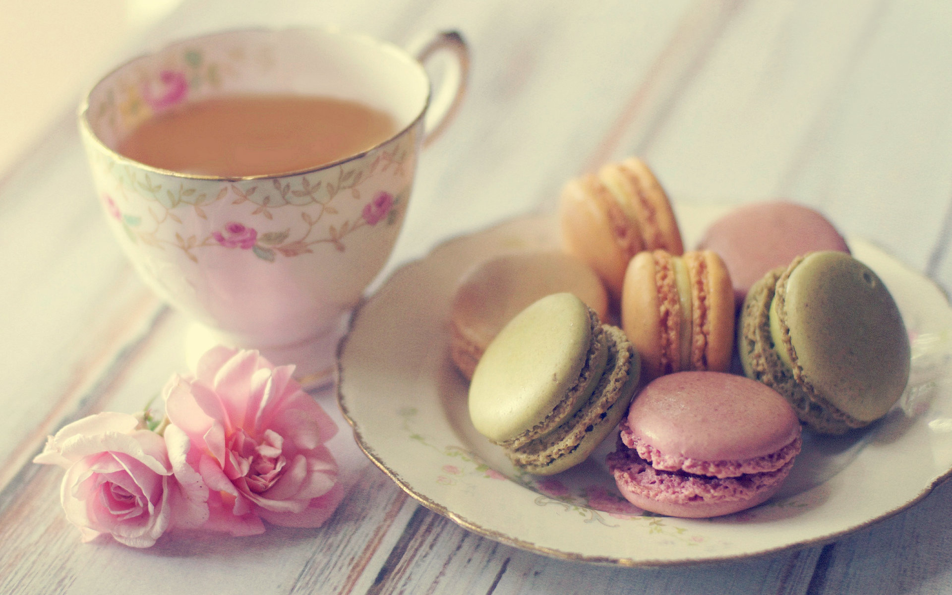 Cute Macaroon and Tea