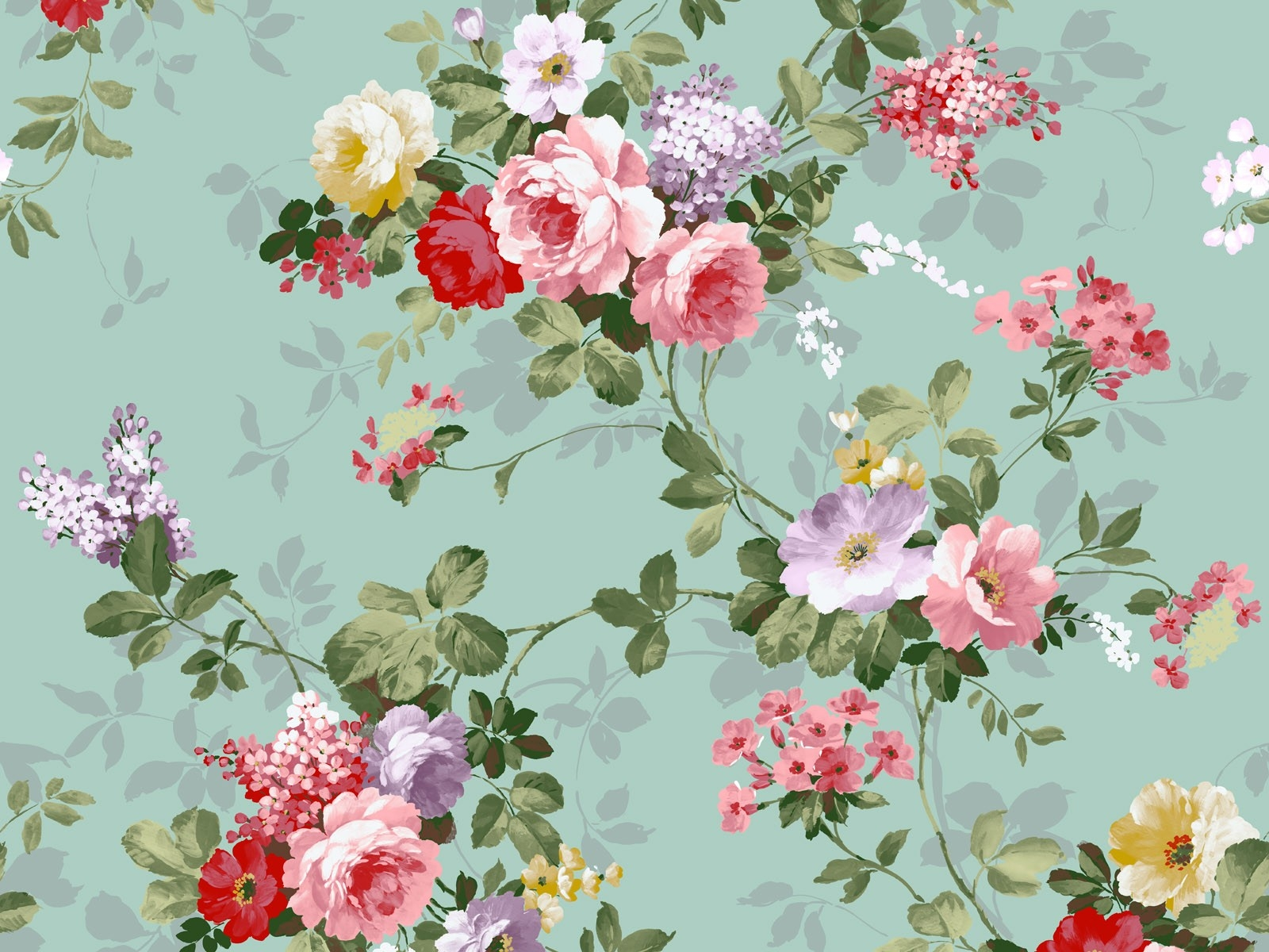 Cute Vintage Flowers Wallpaper 1600x1200 22760