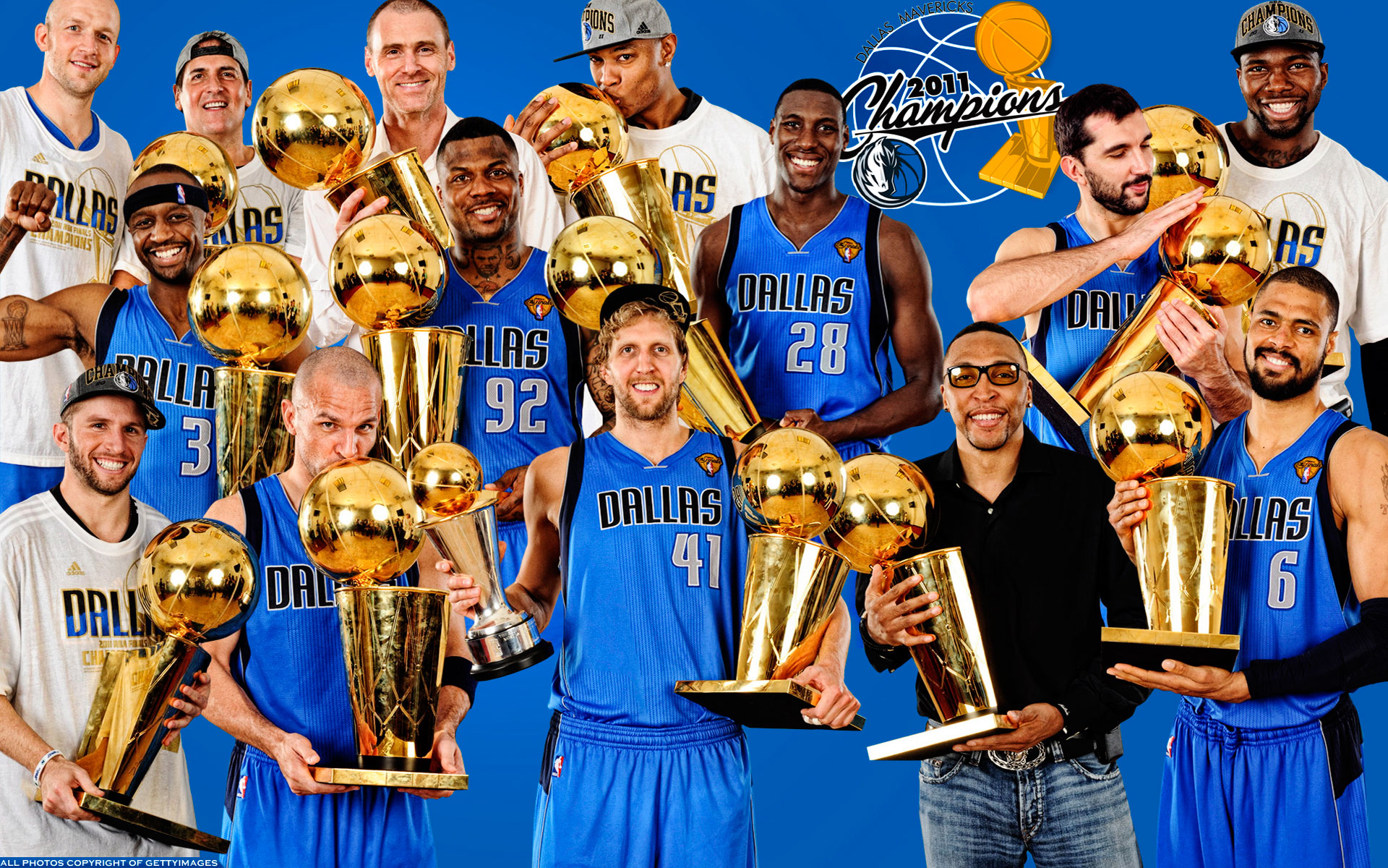 Dallas Mavericks 2011 Players With Trophies Widescreen Wallpaper