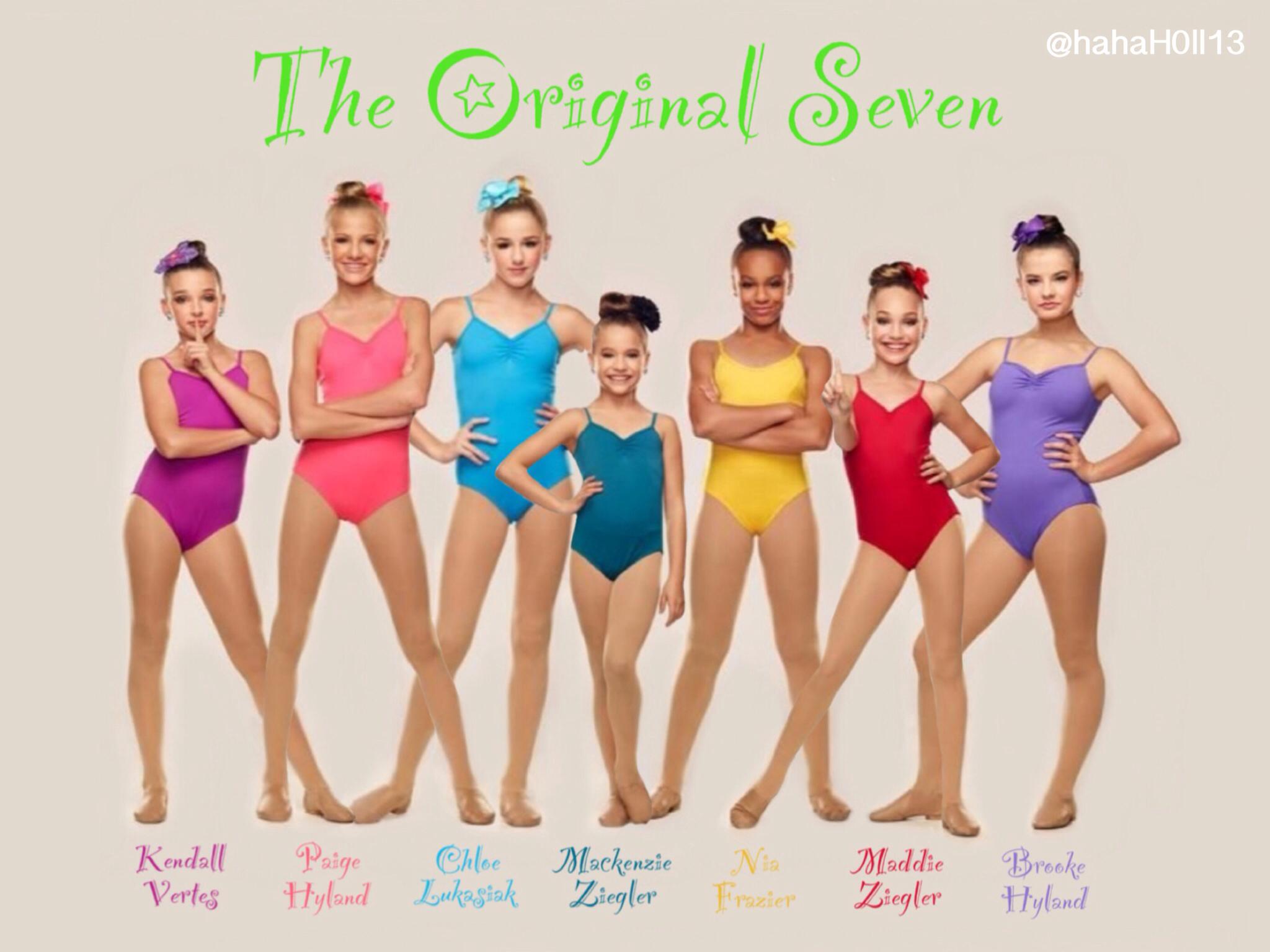 Dance Moms edit of the original seven: Kendall Vertes, Paige Hyland, Chloe Lukasiak, Mackenzie Ziegler, Nia Frazier, Maddie Ziegler, and Brooke Hyland.