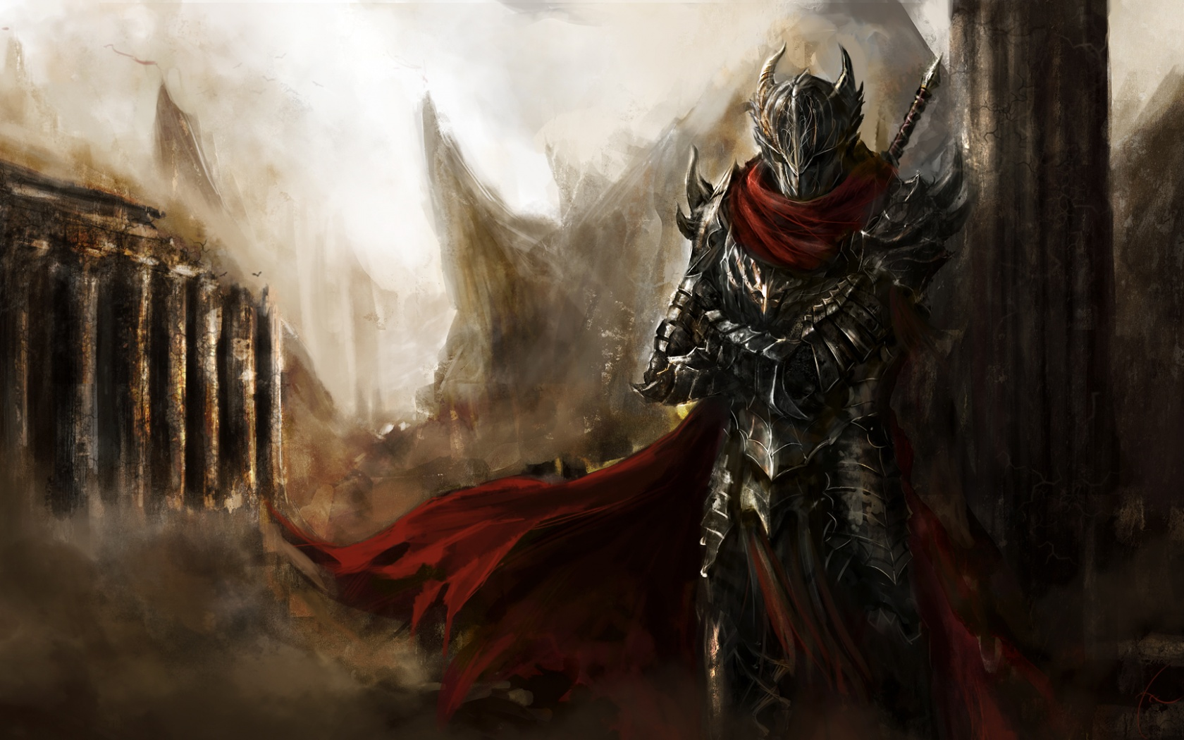 Dark warrior artwork Wallpaper in 1680x1050 Widescreen