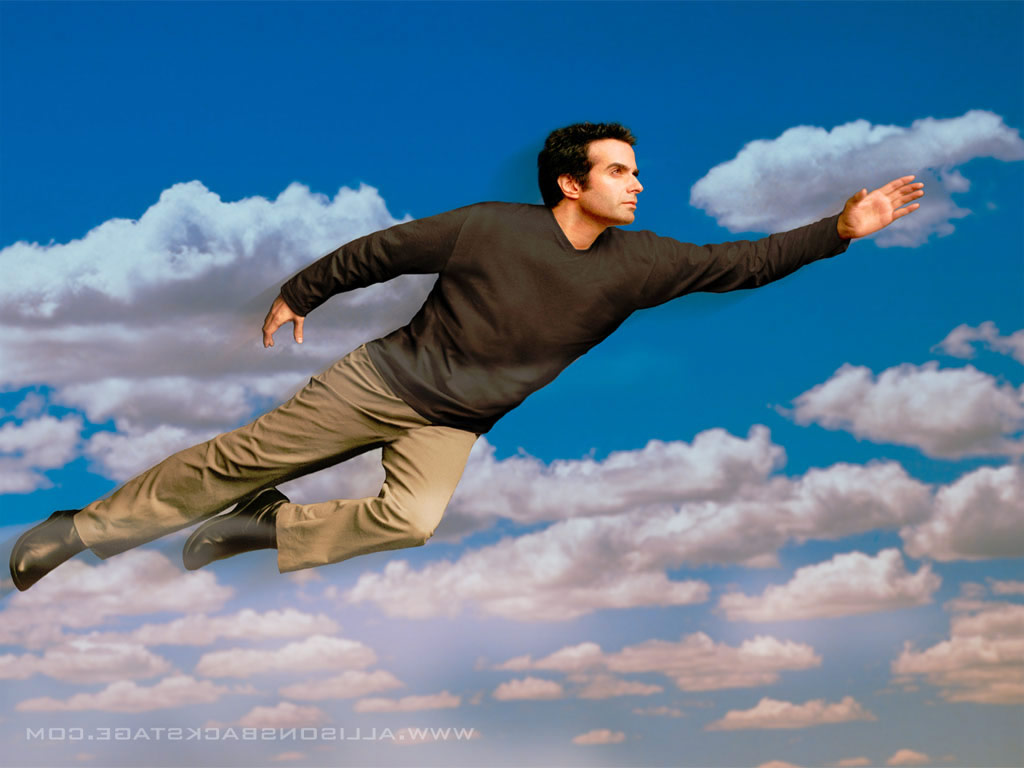 David Copperfield flying in air.