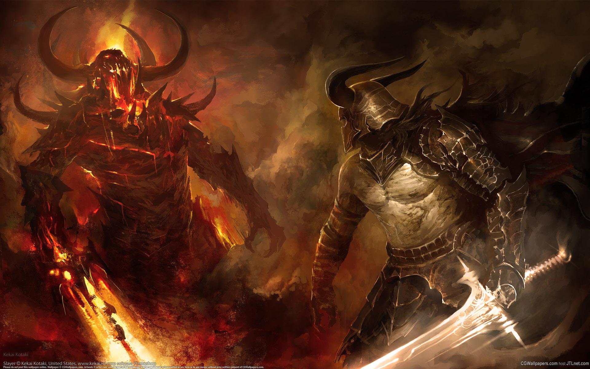 Battle Fight Swords Demon Knight Wide Wallpaper #120510 - Resolution 1920x1200 px