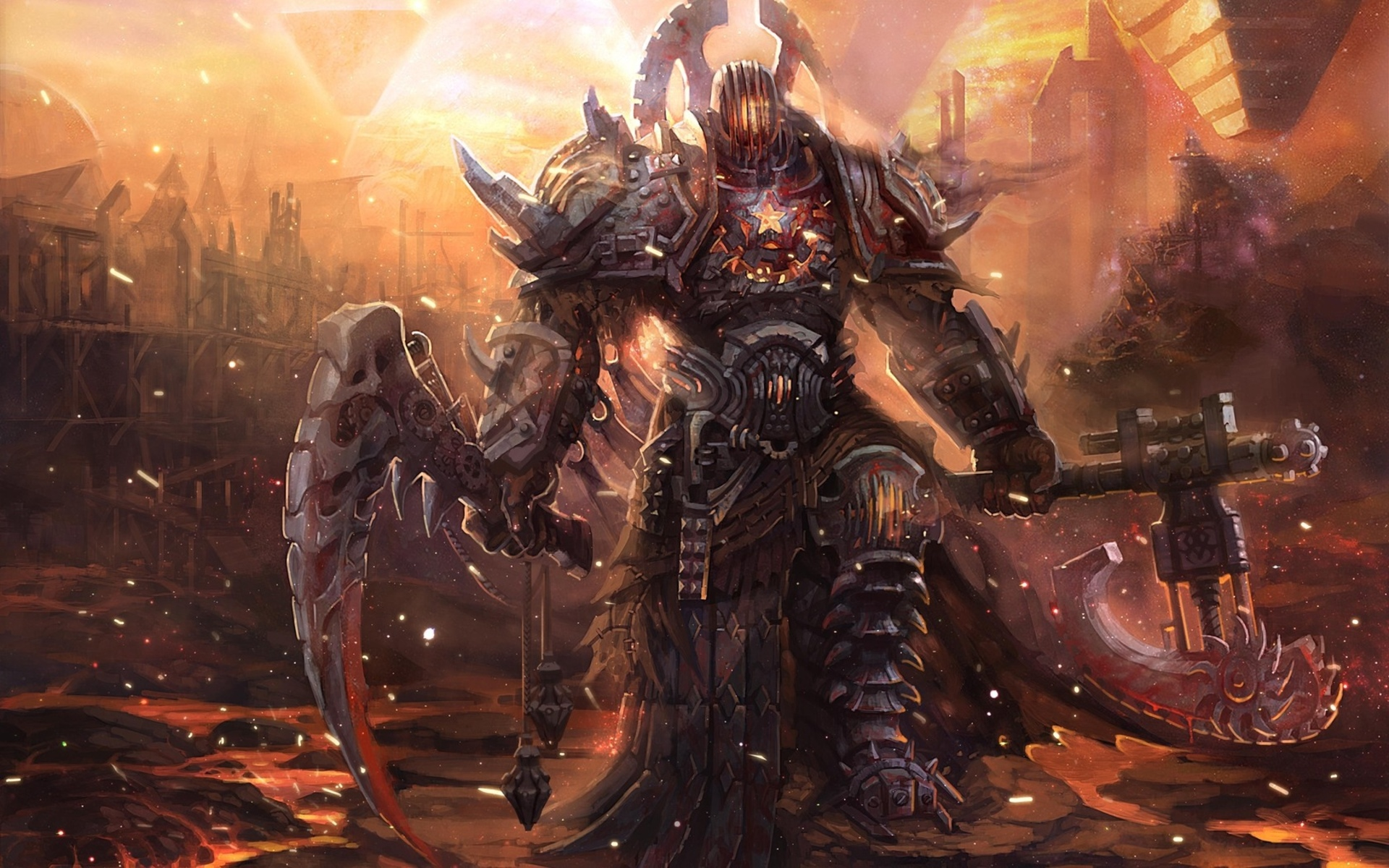 fantasy warrior weapons fire cities demon art wallpaper background