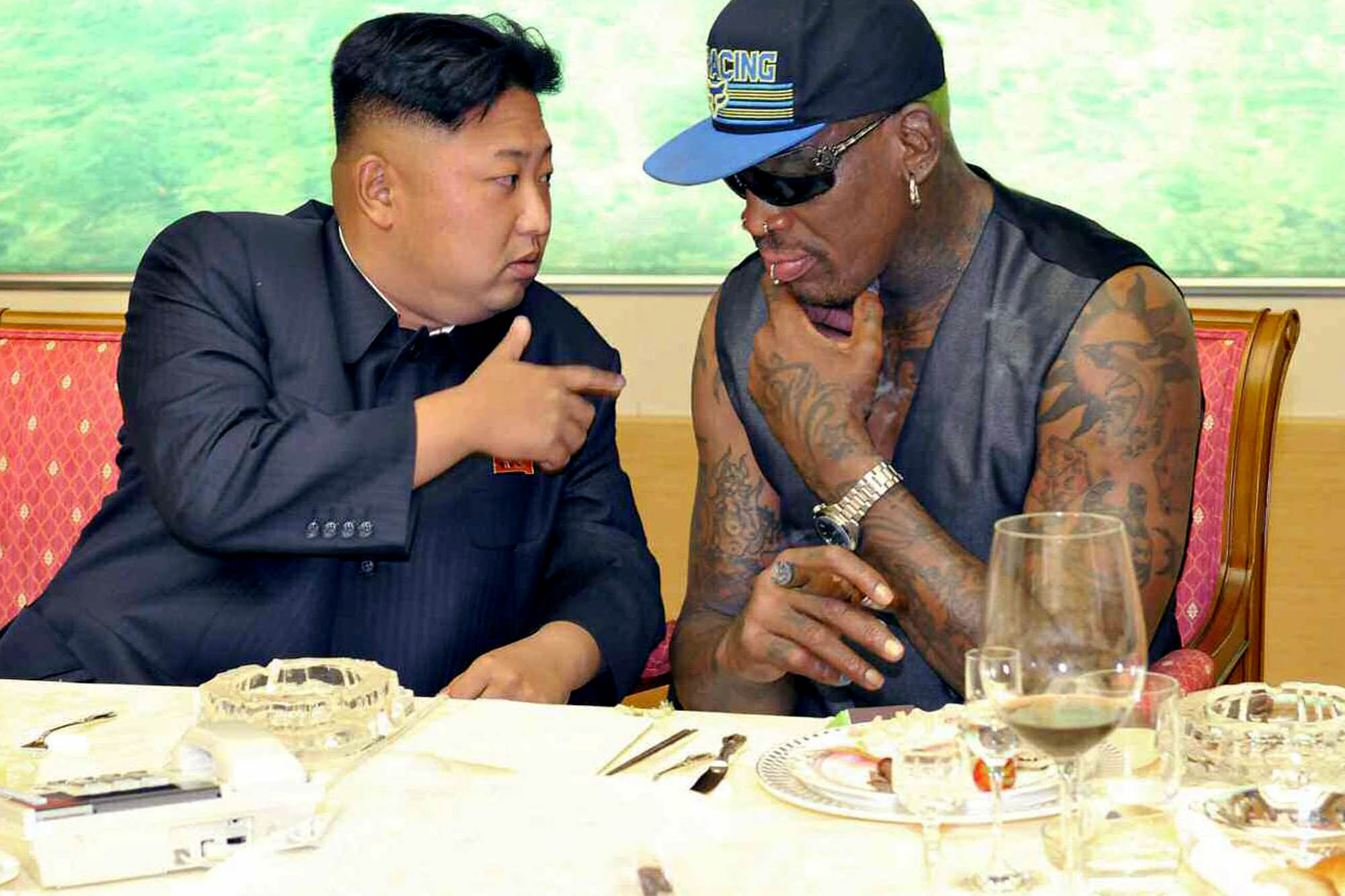 North Korean leader Kim Jong-un meets with former NBA star Dennis Rodman in Pyongyang, North Korea, on September 7th, 2013 Photo: EPA/Rodong Sinmun