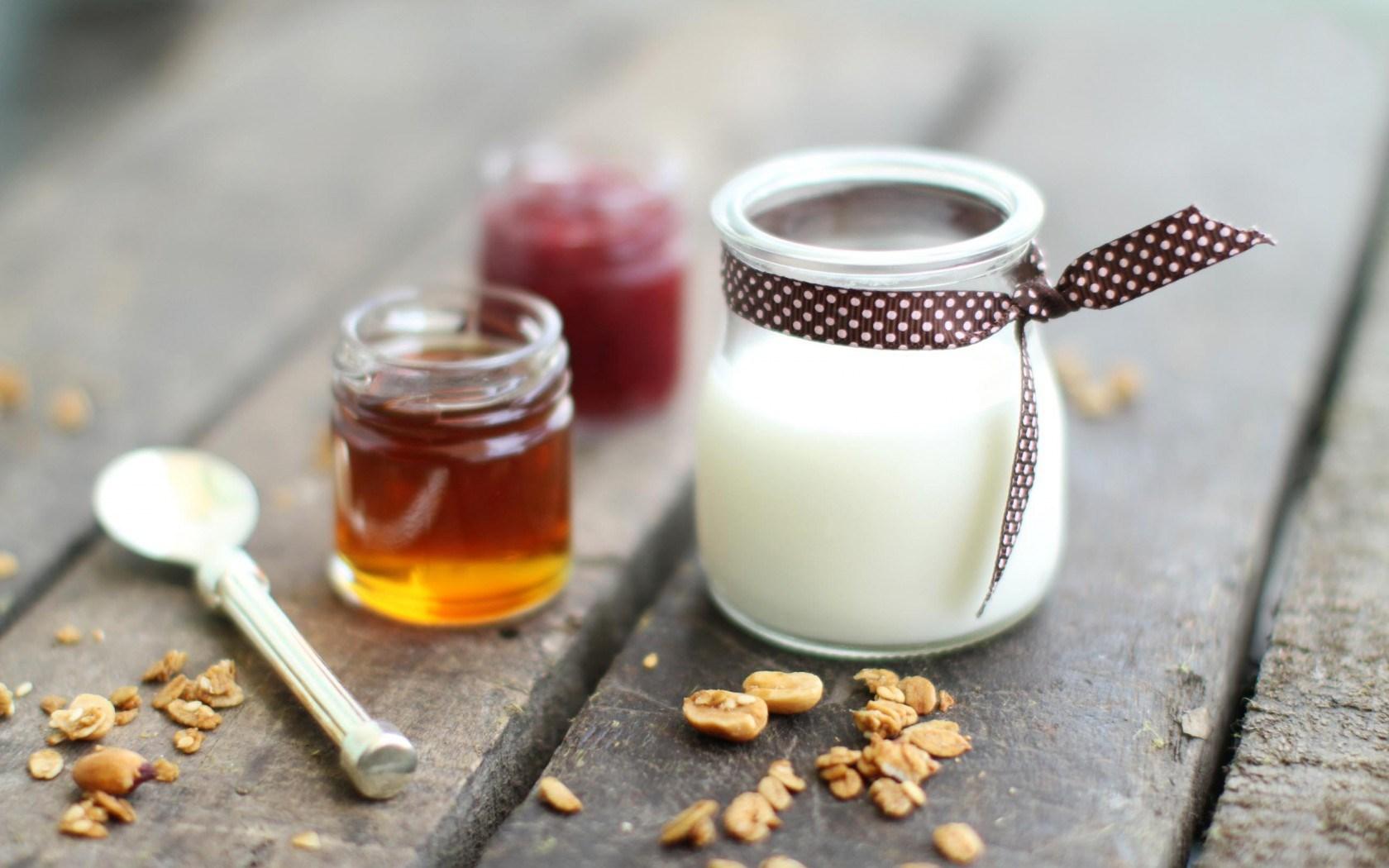 Dessert Panna Cotta Honey Jam Nuts Food