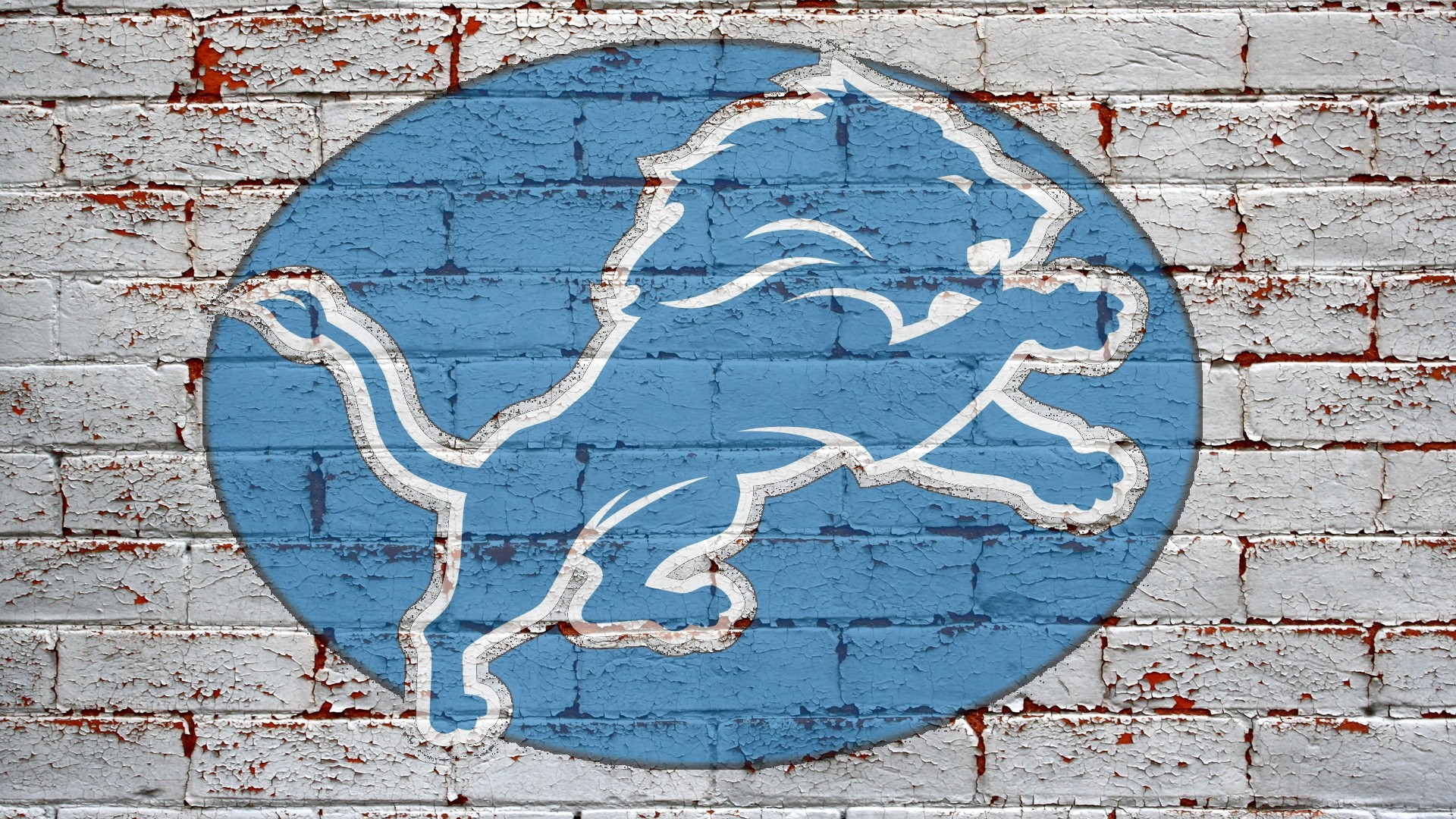 NFL Detroit Lions Logo On Grey Brick Wall 1920x1080 HD