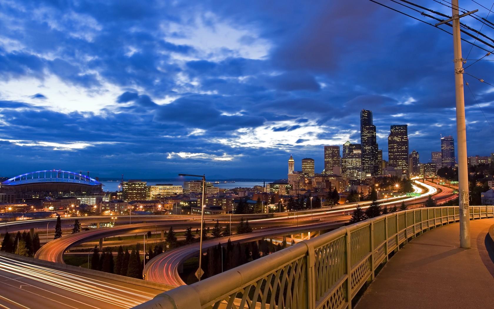 ... clouds cityscapes bridges buildings detroit skyscrapers roads long ...