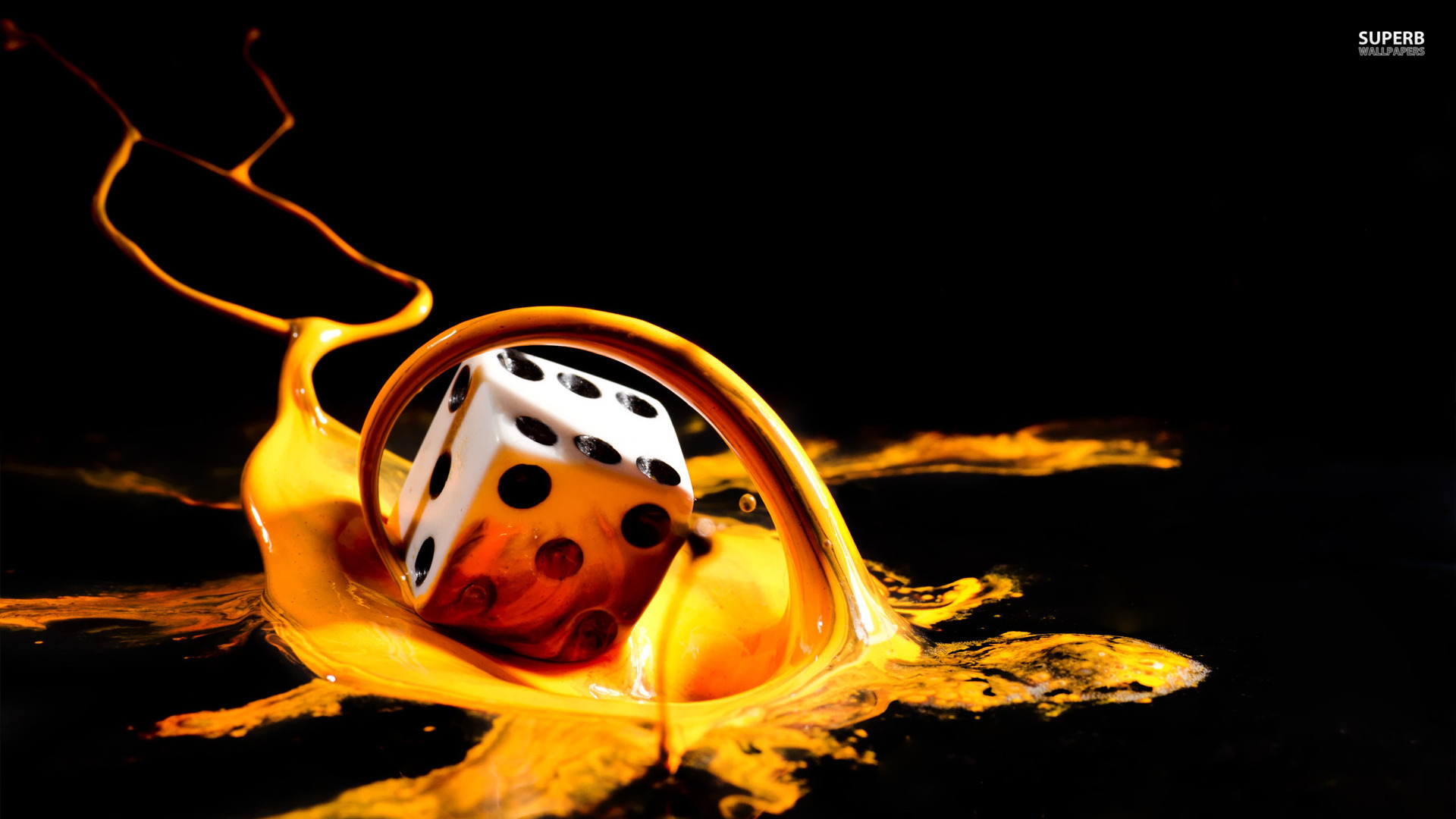 Dice in paint splash wallpaper 1920x1080