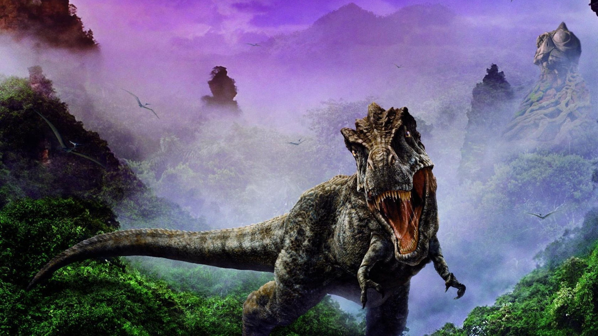 1920x1080 Wallpaper dinosaur, jaws, fangs, fog